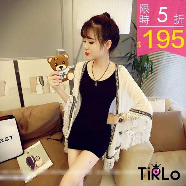 罩衫-Tirlo-早春浪漫流蘇織紋雪紡薄罩衫-兩色現追加預計5-7工作天出貨