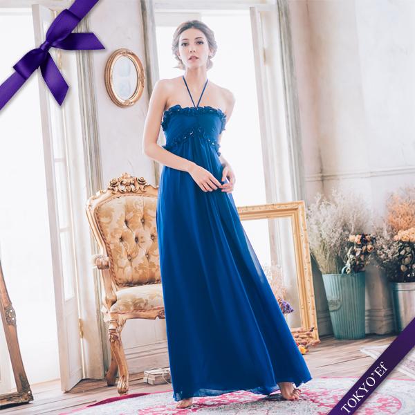 東京衣服-魔幻迷藍 波浪水鑽壓褶繞頸綁帶長禮服 藍色
