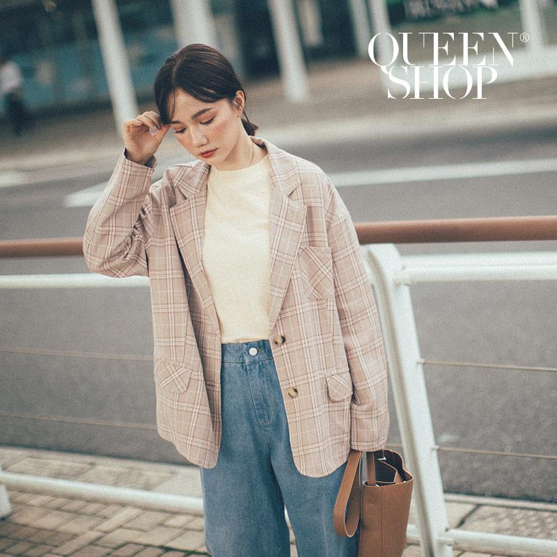 Queen Shop【02030334】配色格紋西裝外套 兩色售*現+預*