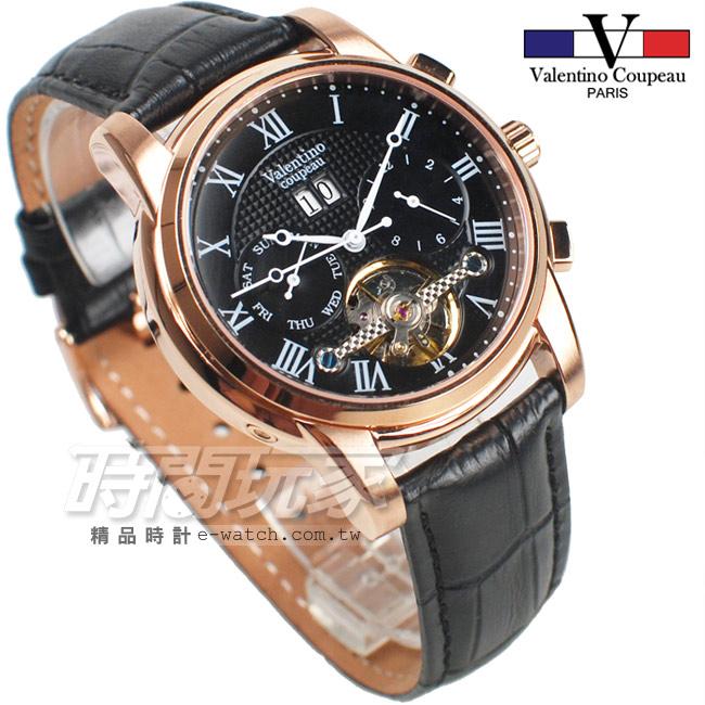 valentino coupeau 范倫鐵諾 羅馬 自動上鍊機械錶 不鏽鋼 防水手錶 男錶 日期顯示 皮帶錶 V61369黑咖