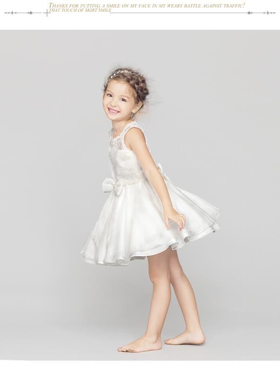 兒童禮服兒童裙子禮服公主連衣裙夏女童蕾絲白色婚紗裙花童寶寶舞蹈演出服八折鉅惠