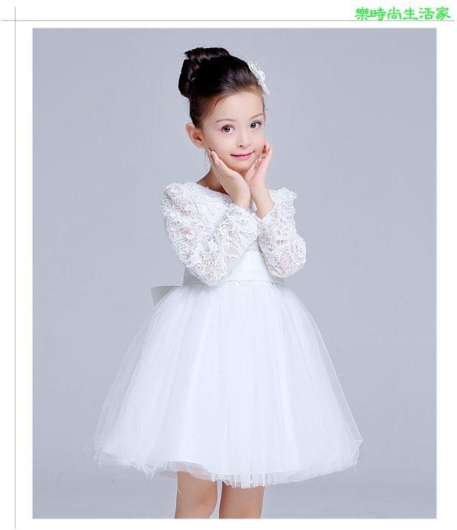 2017童装兒童禮服裙长袖秋冬装女童公主花童白色纱裙