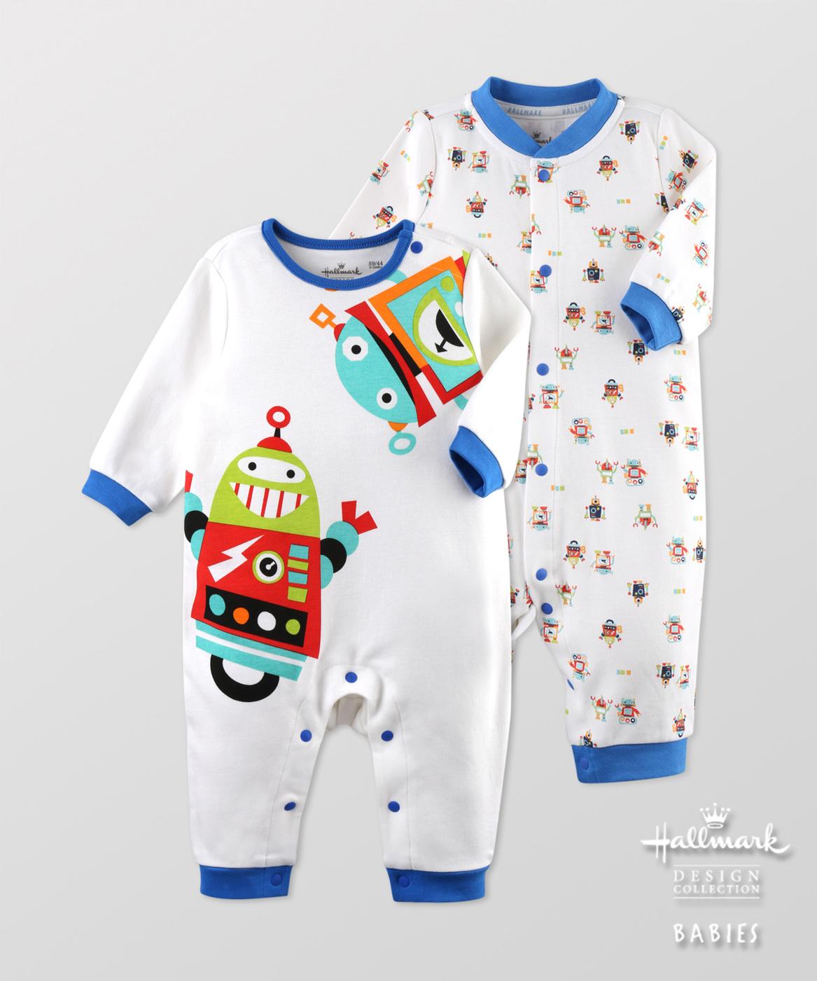 Hallmark Babies男嬰機器人秋冬純棉長袖爬服連身衣(兩件裝) HF3-B02-09-BB-MB