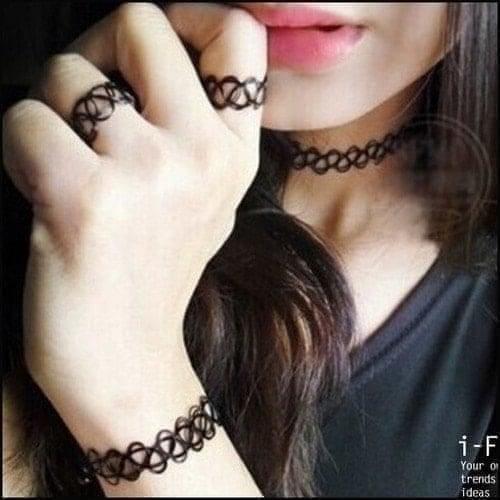 黑色網項鏈戒指手鏈紋身項圈★ifairies【30641】
