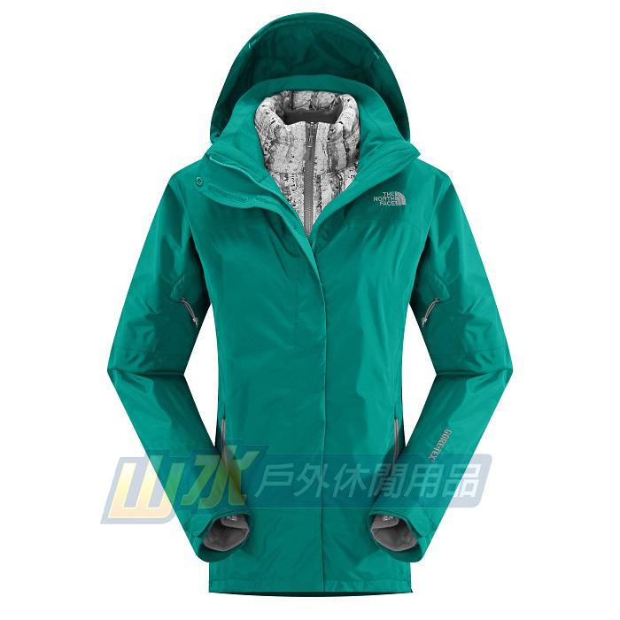 山水網路商城美國北臉TNF女GT羽絨兩件式羽絨外套GORE-TEX防水透氣夾克CUF1海島綠
