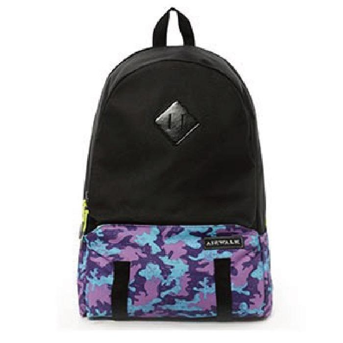 BACKBAGER背包族美國AIRWALK運動迷彩後背包後背包大容量後肩包後背包休閒包紫色