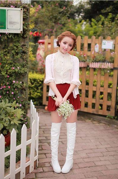 ♥ 俏魔女美人館 ♥ 顯瘦簡約側拉鏈坡跟過膝靴 歐美純色厚底高跟修身美腿長靴女靴子