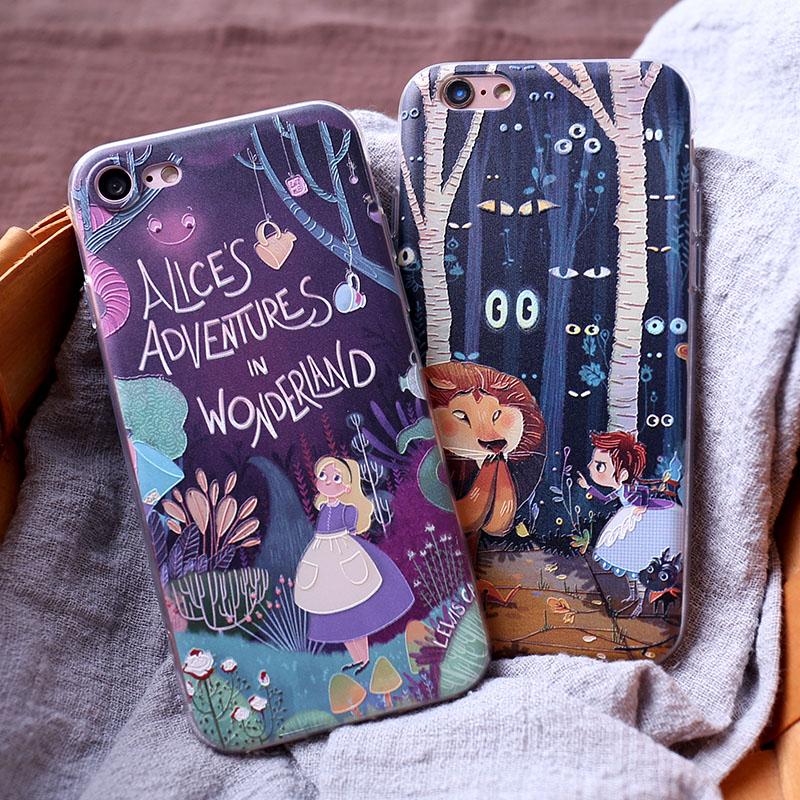 iPhone手機殼可掛繩愛麗絲夢遊仙境浮雕磨砂全包蘋果iPhone7 iPhone6 iPhone5
