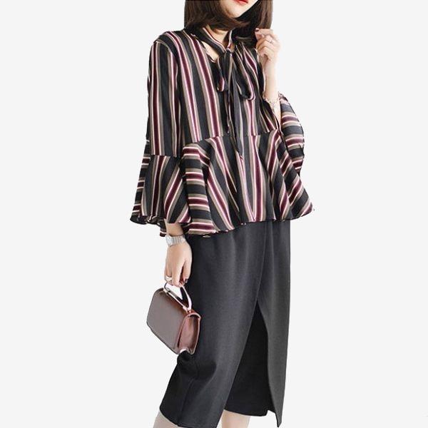 七分喇叭袖直條紋雪紡上衣( 卡其  紅)二色售 (M8SF) 11710026