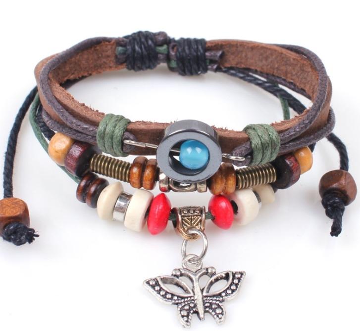 串珠 手工蝴蝶 手鍊 復古 手鍊 手繩 編織 手鍊