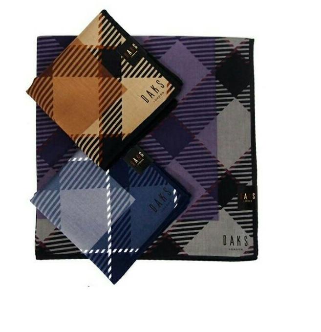 【京之物語】日本製DAKS斜格紋男性絲巾手帕(手帕)-紫色/藍色/卡其色