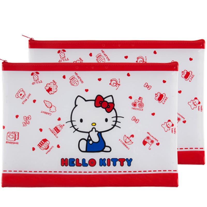 兒童卡通文具袋hello kitty拉鍊袋A4拉鍊網格資料袋