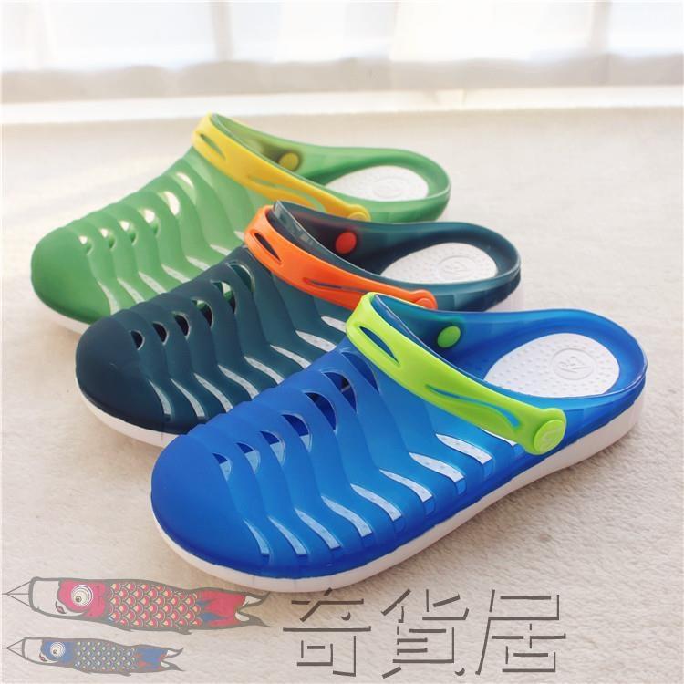 兒童涼拖鞋男童小孩洞洞鞋軟底防滑拖鞋