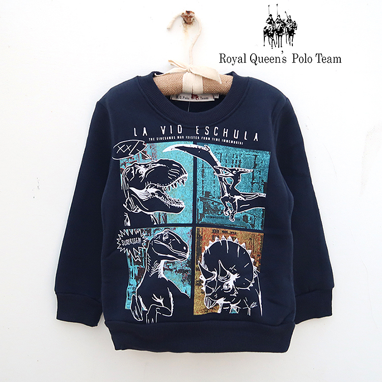 恐龍圖案藍色刷毛圓領衫 RQ POLO 小男童秋冬款[48252]