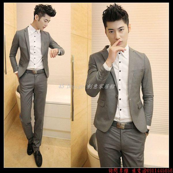 (45 Design)  韓版純色休閑小西裝一套修身西服男伴郎服 魔術師發型師 大尺碼西裝4