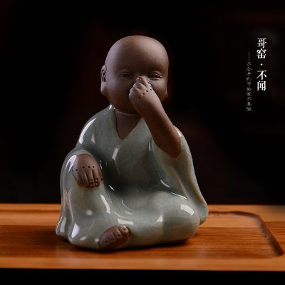 陶瓷哥窯茶寵開片四不小和尚圖一1