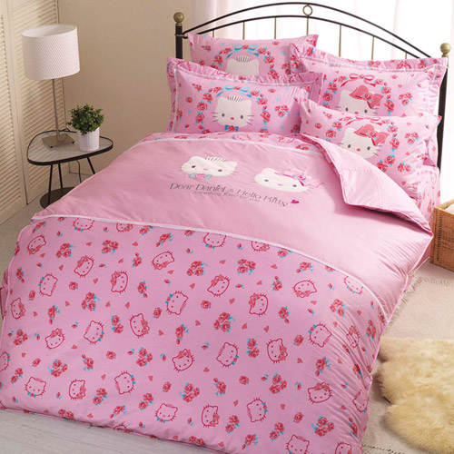 【享夢城堡】HELLO KITTY 幸福婚禮系列-精梳棉雙人床包涼被組