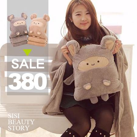 SISI【G5001】卡卡鼠三合一珊瑚絨抱枕內有毯子玩偶辦公室暖手午安枕 空調毯生日禮物聖誕節情人節