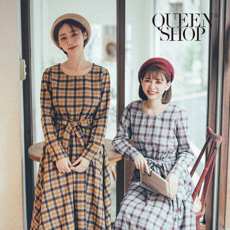 Queen Shop【01084795】圓領格紋縮腰綁帶洋裝 兩色售 *現+預*