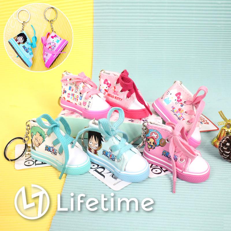 ﹝卡通帆布鞋型鑰匙圈﹞正版鞋型吊飾 45週年 凱蒂貓 航海王 魯夫 喬巴〖LifeTime一生流行館〗B23132