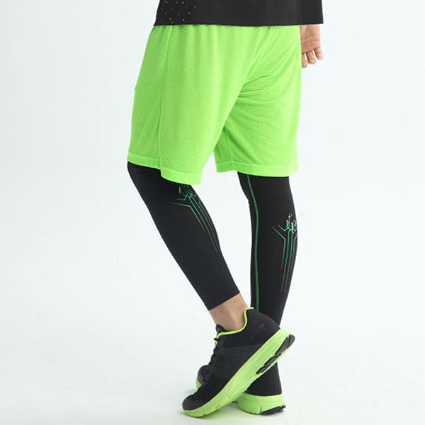 FIVE UP彈力運動緊身長褲-黑螢綠