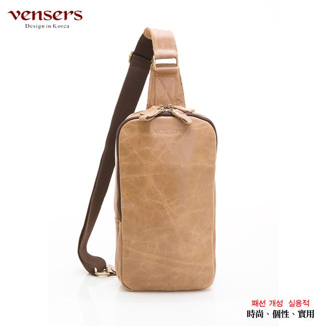 【Vensers】小牛皮潮流個性包~胸包(N103802米黃)