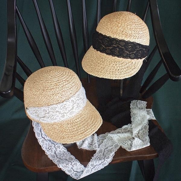 協貿國際蕾絲系帶拉菲草帽馬術帽鴨舌帽子防曬遮陽帽帽1入