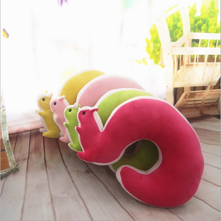 創意糖果色可愛松鼠U型枕頸枕辦公室車用飛機用旅遊必備旅遊用品