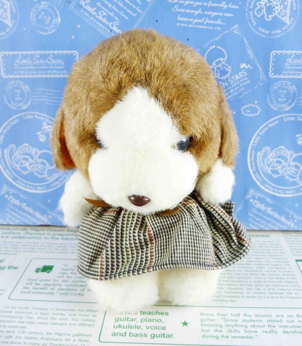 震撼精品百貨日本日式精品狗DOG~絨毛玩偶-咖啡色耳朵-小格裙