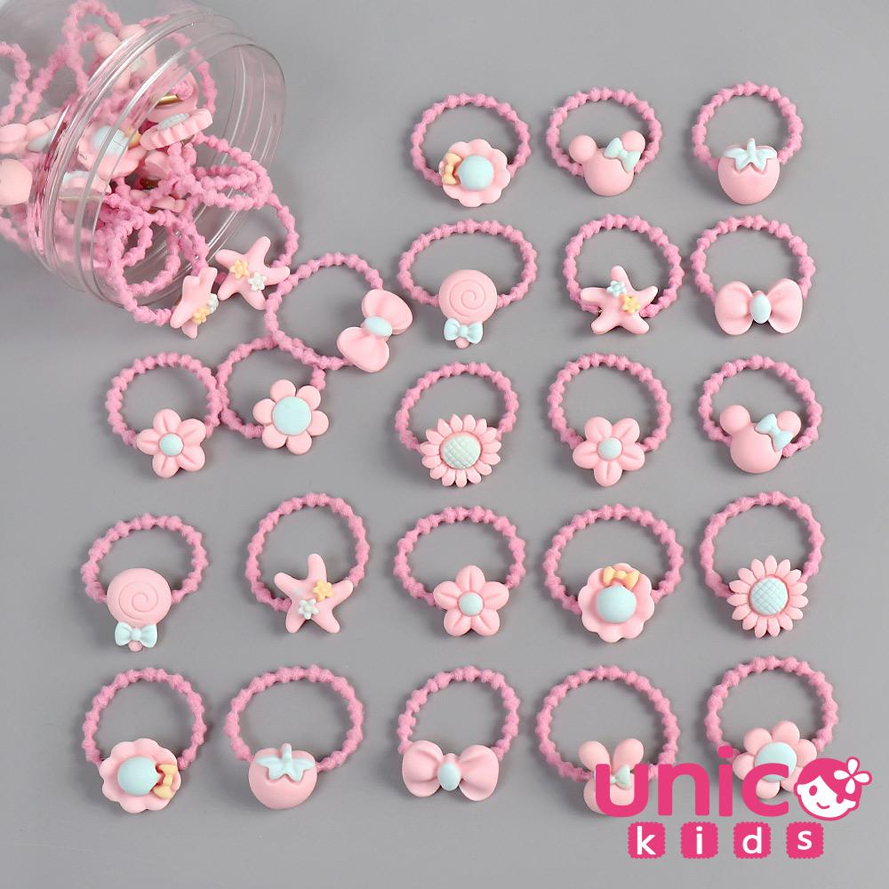 UNICO 兒童 少髮量甜到心坎裡40條多款樣式髮圈/髮繩罐裝-粉色款