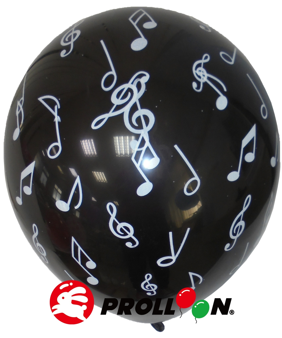 【大倫氣球】12吋-五面印刷 圓形氣球-音符-黑.白