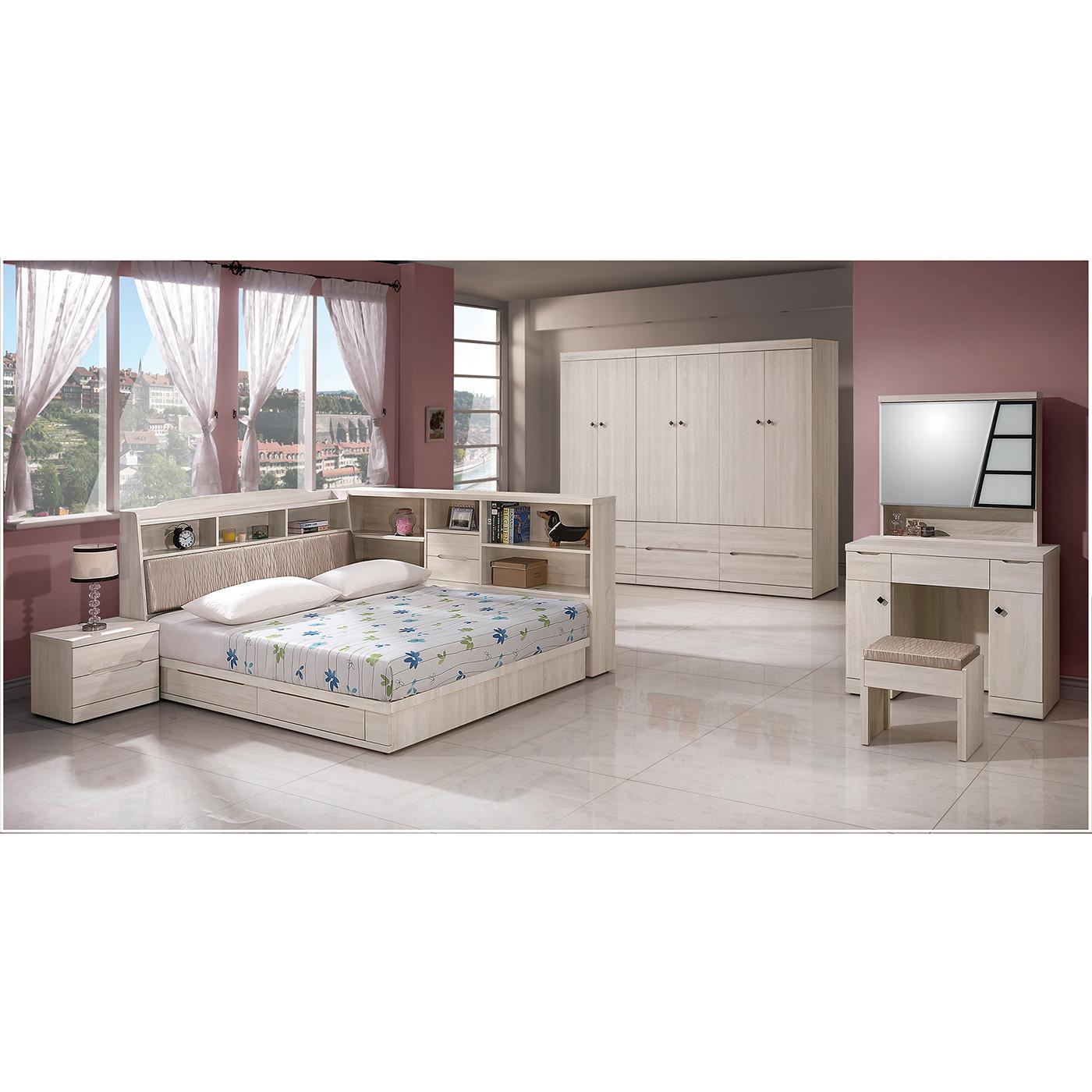 森可家居瑪奇朵5尺床組全組6ZX410-2雙人床臥室房間組木紋質感北歐風衣櫃