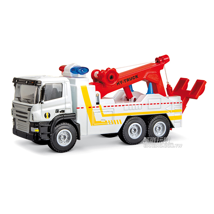 HY TRUCK華一5012-13 W清障車白工程合金車模型車拖吊車道路救援車1:50楚崴玩具