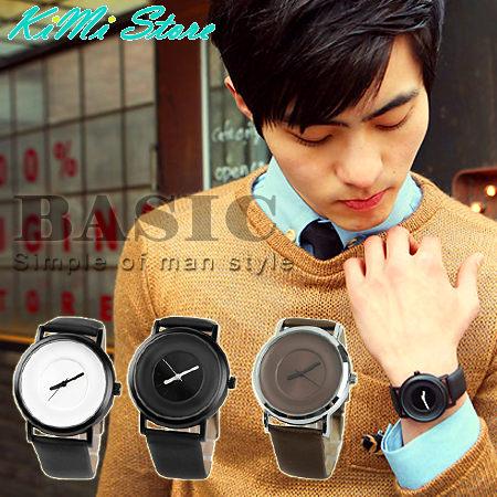 隱藏刻度 簡約典雅 素面皮革大圓錶 韓國流行手錶 對錶 情侶錶【KIMI store】
