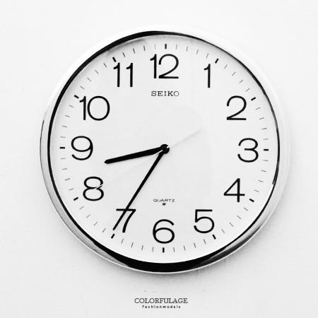 SEIKO精工掛鐘標準型大數字設計銀殼時鐘適合公司學校戶外柒彩年代NG1721原廠公司貨