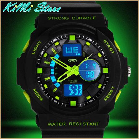戶外經典運動防水錶LED錶大錶盤雙顯雙時區正品都會型男雙顯多功能手錶KIMI store