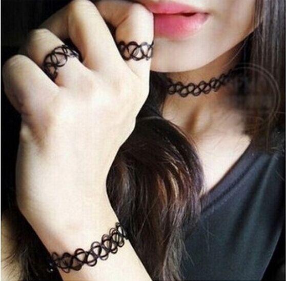 韓國新款個性黑色網戒指 紋身指環 百搭裝配飾品【B2019】
