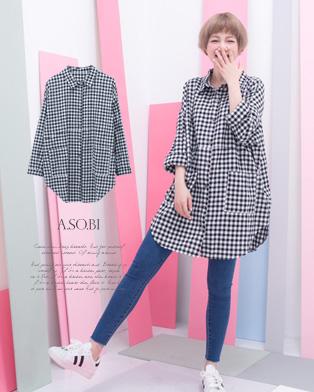 A-SO-BI韓系-古著雙口袋方格長版襯衫小洋裝【R50343-04】