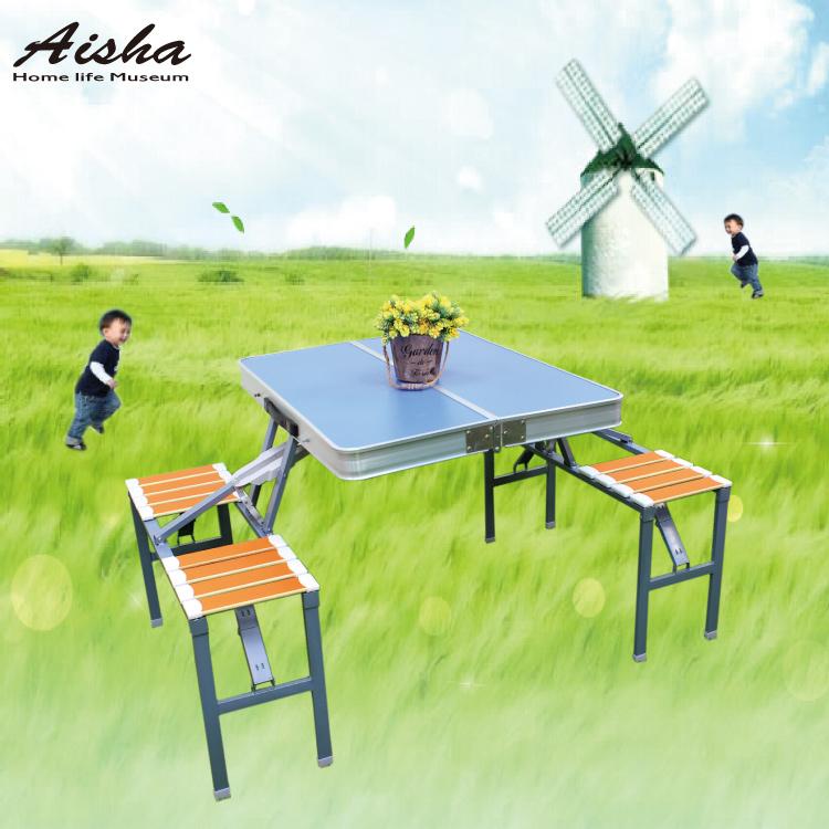 戶外摺疊桌椅組攜帶式鋁合金餐桌椅連體野餐桌椅8898愛莎家居