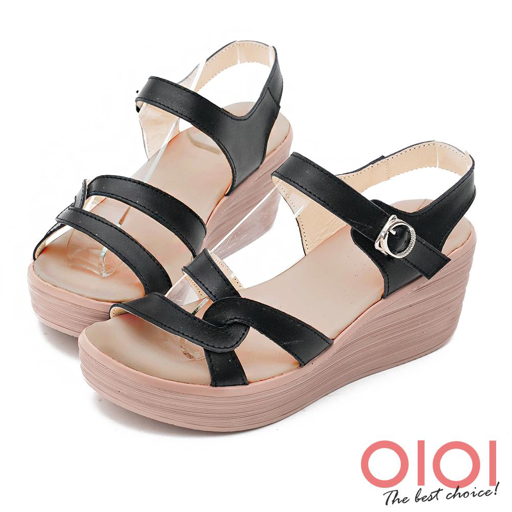 楔型涼鞋 簡約獨特線條真皮楔型涼鞋(黑) *0101shoes 【18-760bk】【現+預】
