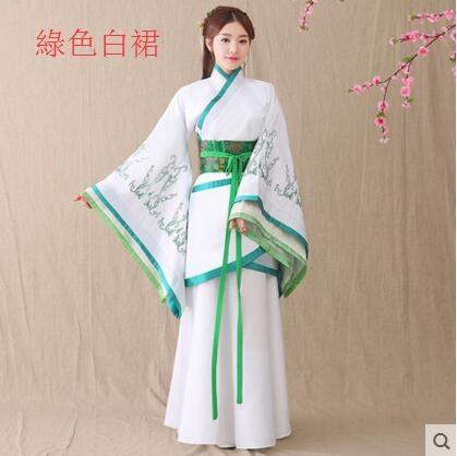 熊孩子漢服女2017新款改良古裝襦裙主圖款5綠色白裙
