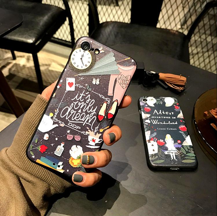 iPhone手機殼可掛繩愛麗絲的異想世界浮雕矽膠軟殼蘋果iPhone7 iPhone6