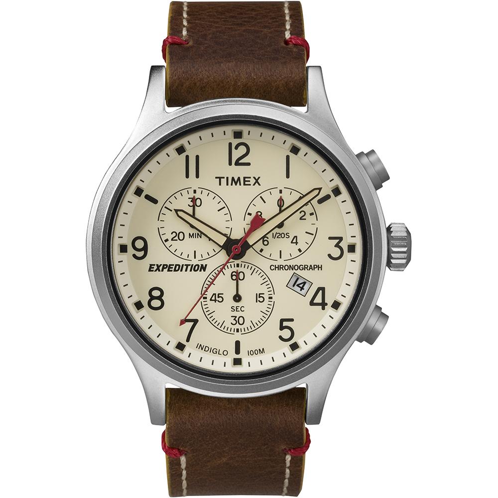 【TIMEX】天美時 Scout Chrono系列三眼計時手錶(米色 TXT4B04300)