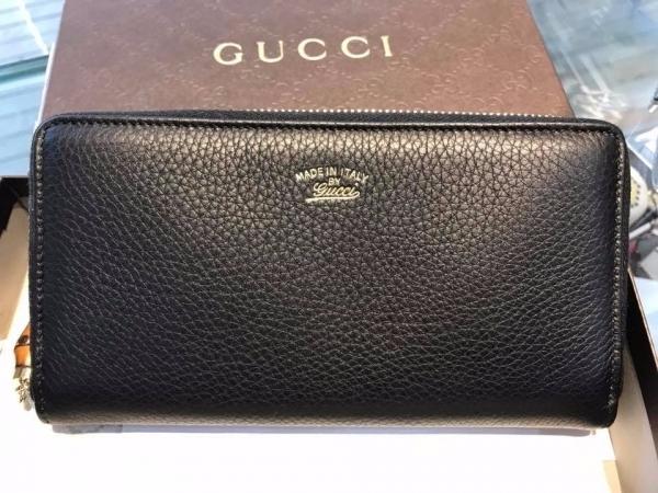Gucci 307984 Bamboo 竹節流蘇設計荔枝皮拉鍊皮夾/長夾/錢包