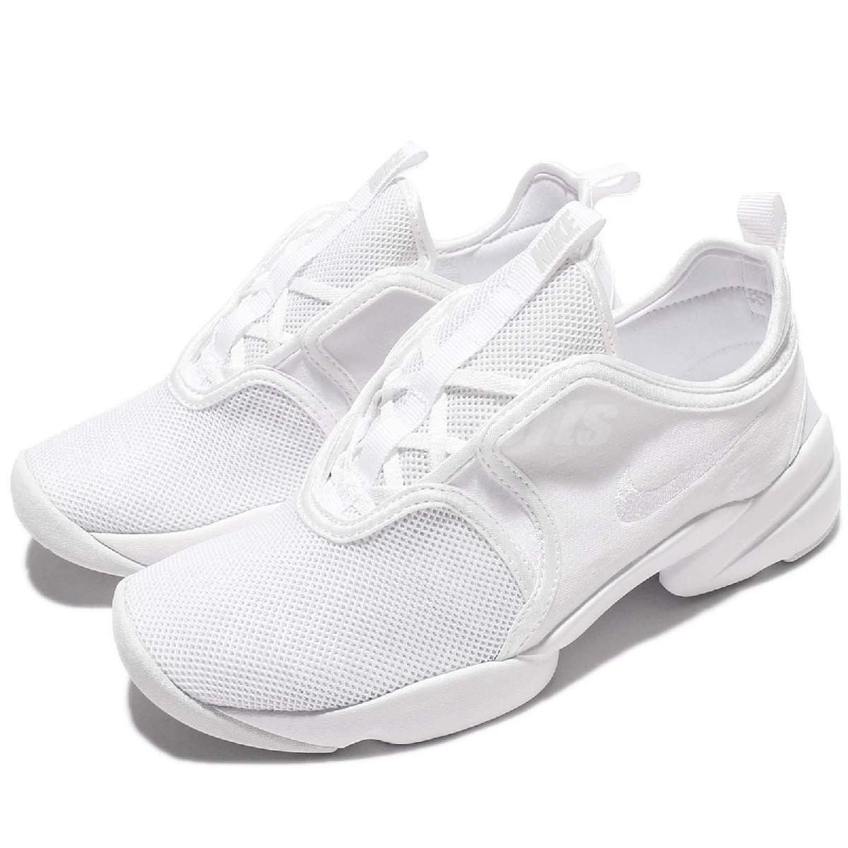 Nike 休閒鞋 Wmns Loden 忍者鞋 全白 小白鞋 襪套式 無鞋帶 女鞋 【PUMP306】 896298-100