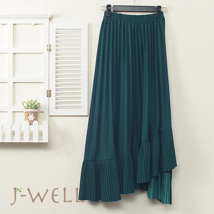 J-WELL 下擺剪接壓褶垂墜感長裙 (2色) 9J1099