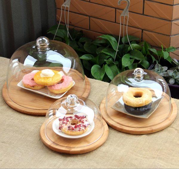 木製玻璃蛋糕罩點心罩蛋糕盤中號代購032938通販屋