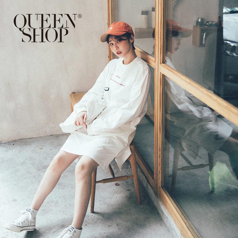 Queen Shop【01084629】字母刺繡長袖洋裝*現+預*