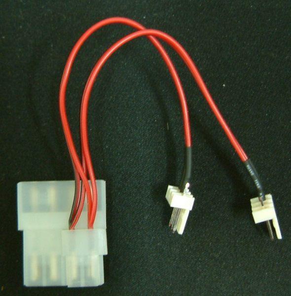 一大4pin轉二小3pin風扇電源轉接線