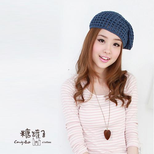 糖罐子韓品‧粗針勾織VS純色素面貝蕾帽→現貨【DD0625】